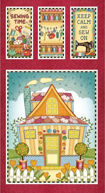 Sew Let's Stitch panel by Sandy Lee for Henry Glass 1864P-88 Red