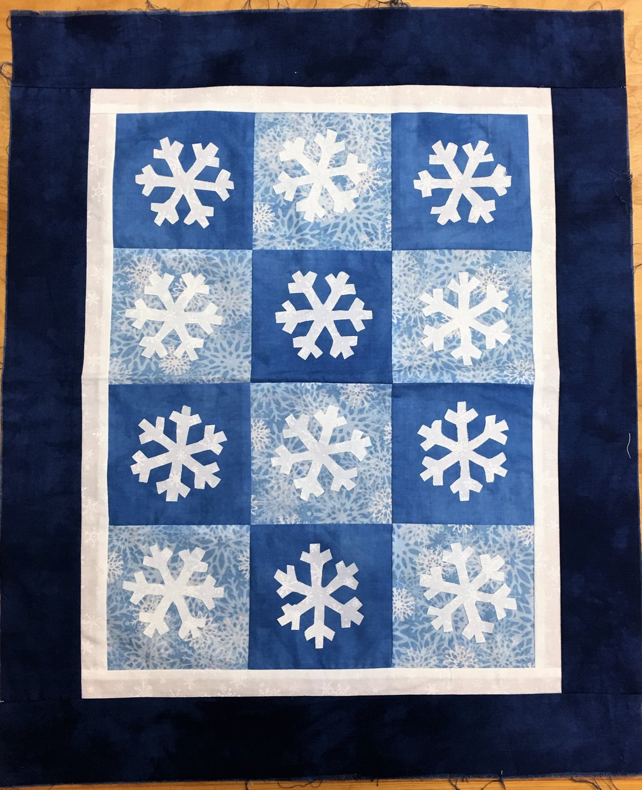 Blue Snowflakes - Unquilted Pieced Quilt Top