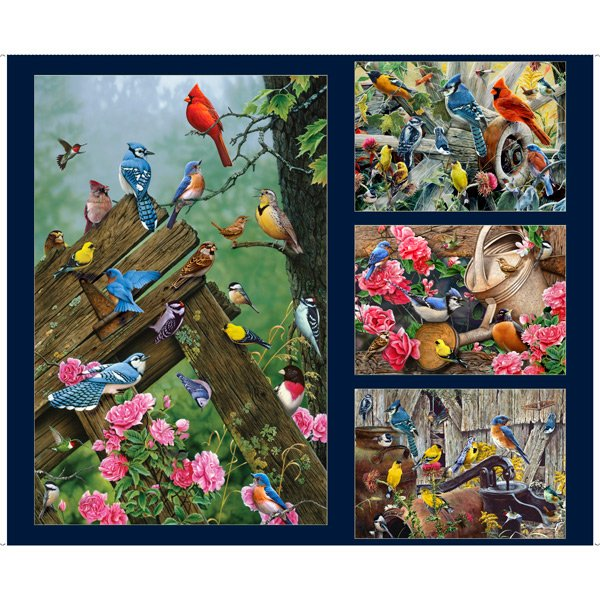 SONGBIRDS LARGE SONGBIRD PATCHES panel by QT Fabrics 1649-27783-N