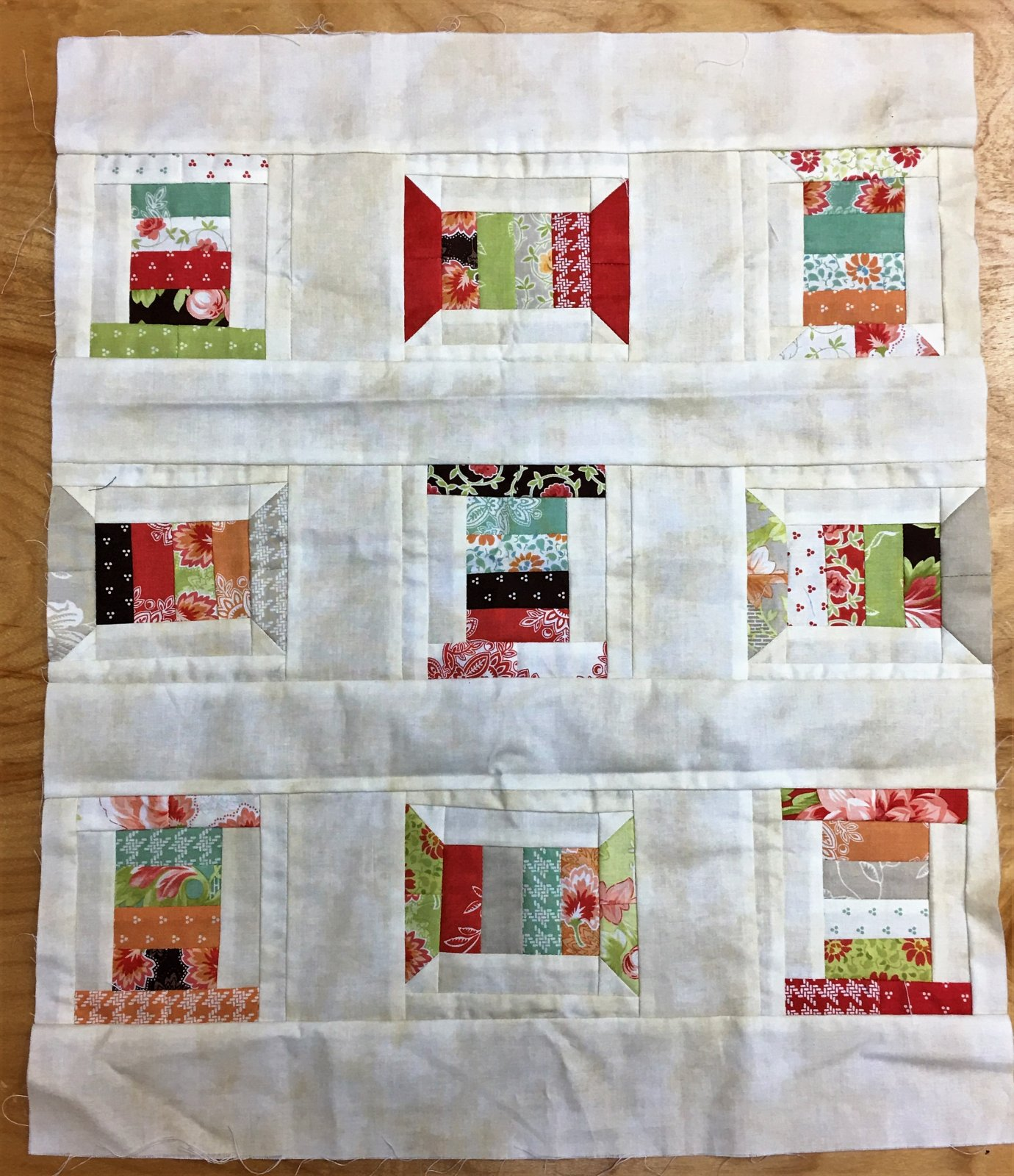 Spring Spools - Unquilted Pieced Quilt Top