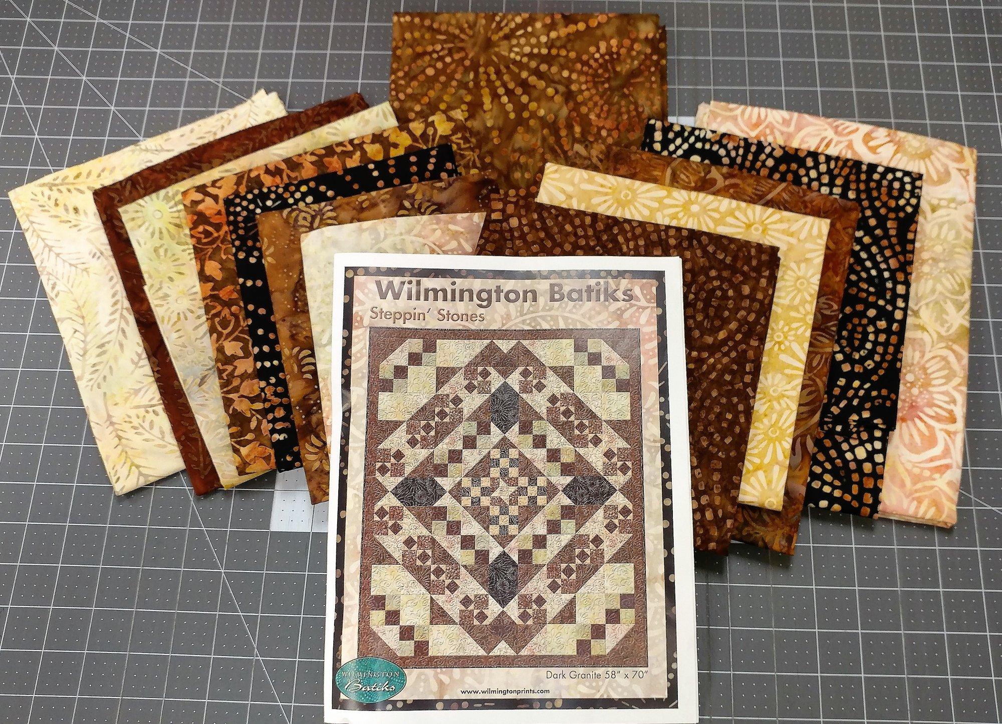 Steppin' Stones Dark Granite Fabric Kit, Fabric by Wilmington Prints, Pattern by Wilmington Batiks : Q1400-Kit