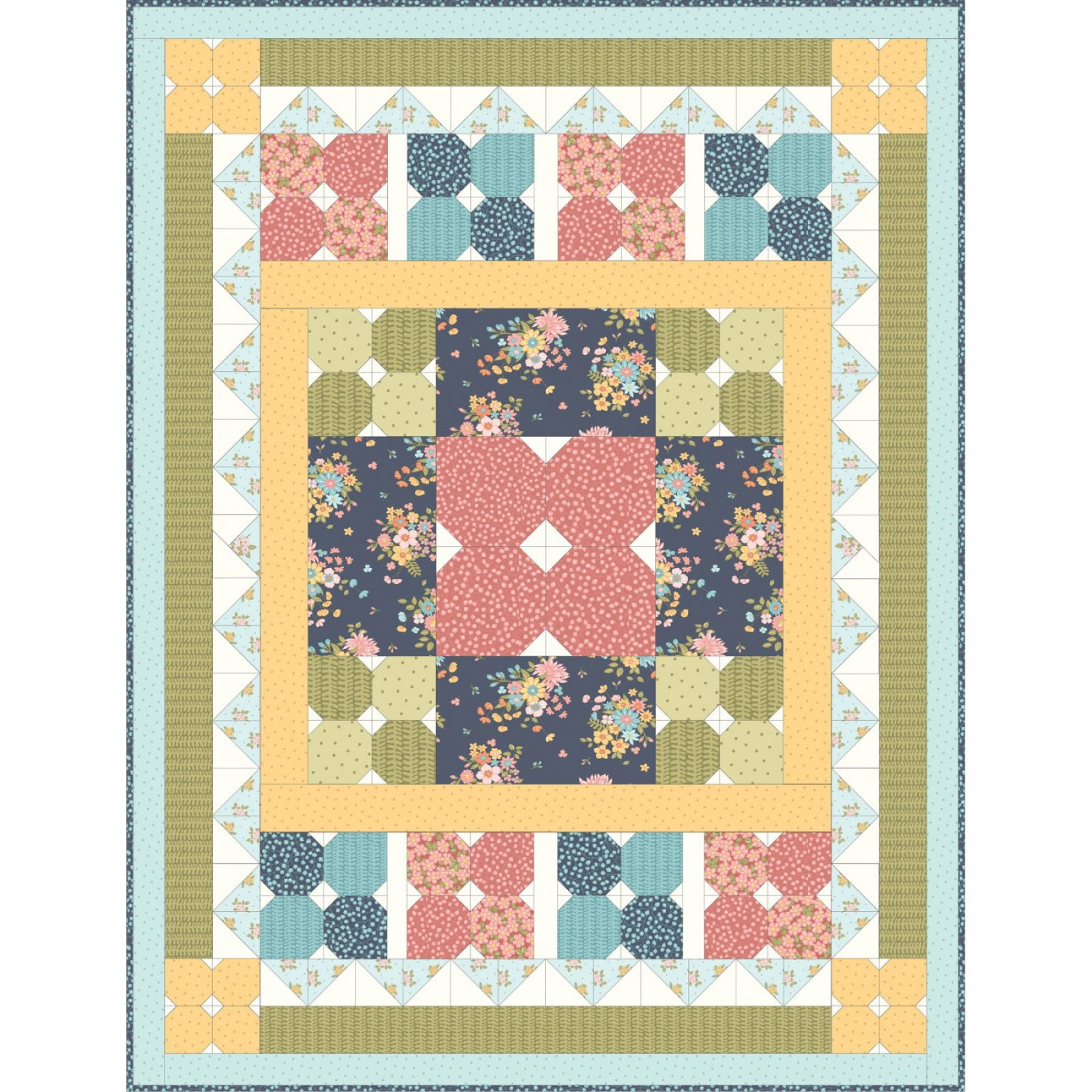 Sunlit Blooms Quilt Kit by Maywood Studio : Kit-Massub