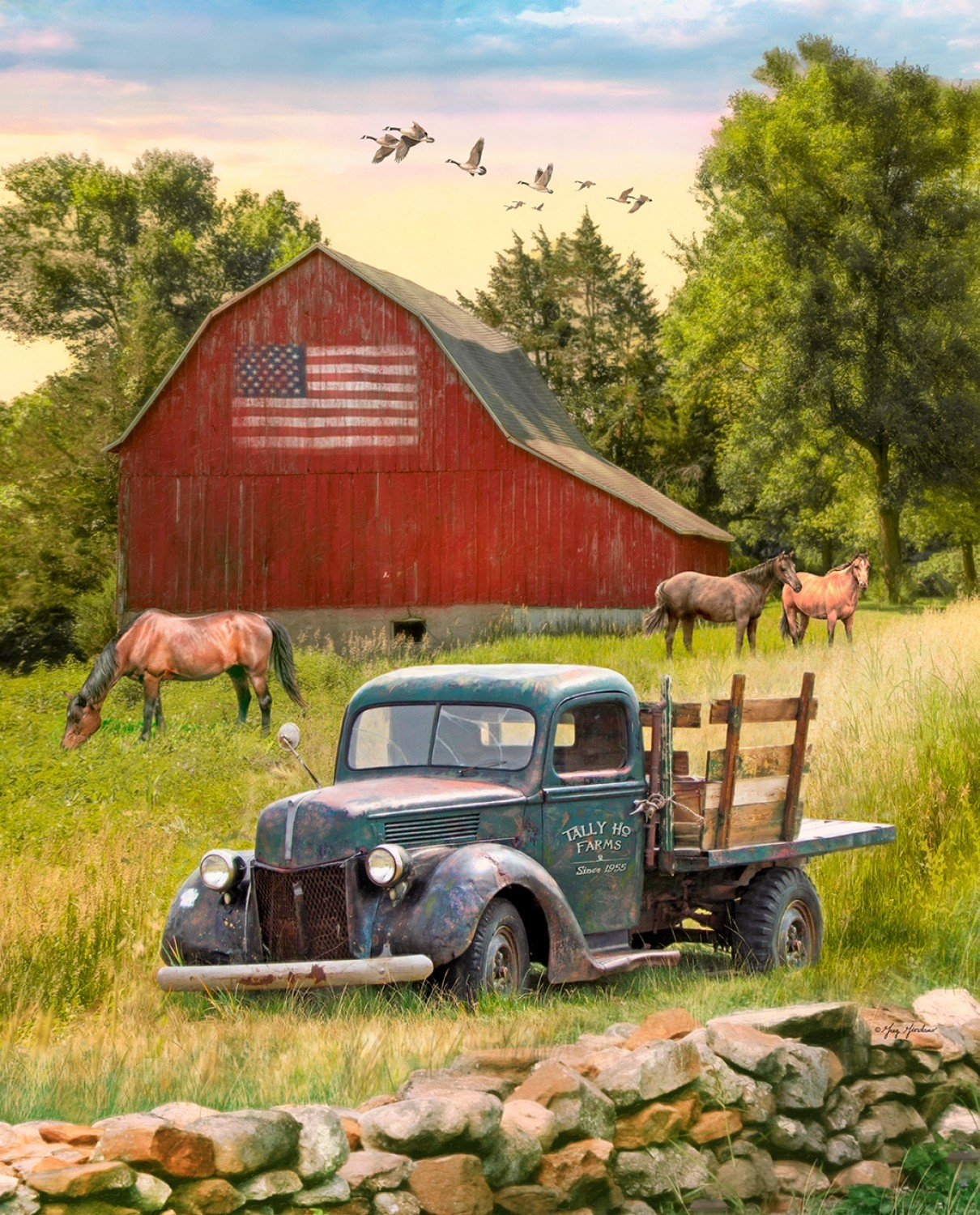 Truck Barn & Horses 36 panel by David Textiles GG-0054-OC-1Multi