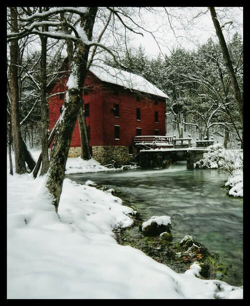 Watermill with Snow Panel by Carey McKinney for Blank Quilting 1490P-01 White