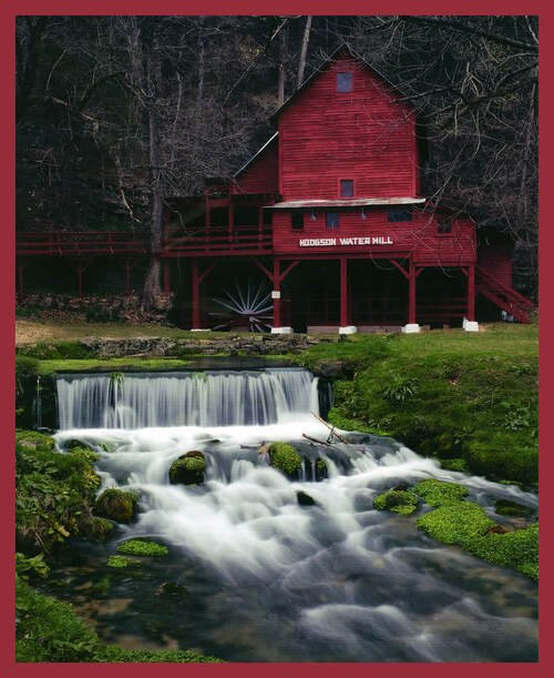 Watermill with Stream Panel by Carey McKinney for Blank Quilting 1489P-88 Red