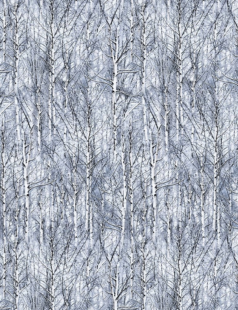Icy Trees by Timeless Treasures Winter-C6131 Frost