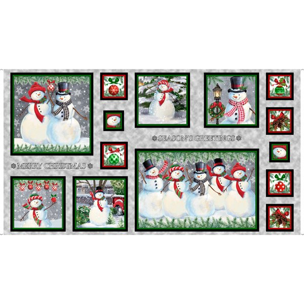 Winter Greetings, Snowman Pictures Patches Panel by QT Fabrics 28335-K