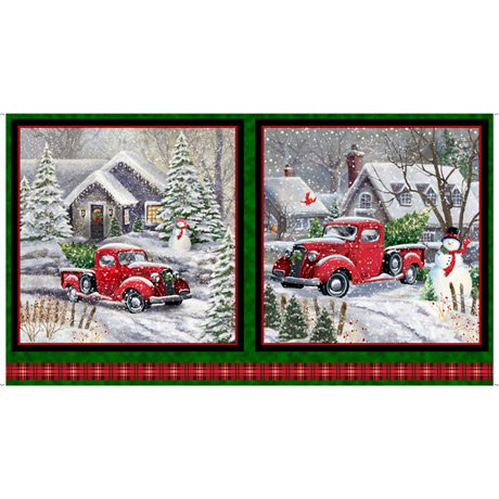 Winter Greetings, Red Truck Christmas Picture Panel by QT Fabrics 28334-F