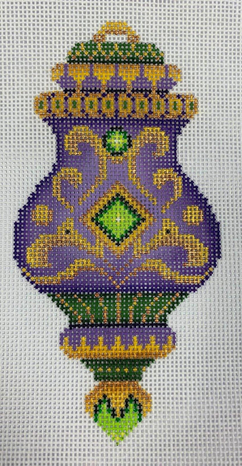 K&B Jeweled Christmas Ball Purple Gold Forest Green 18ct Mesh