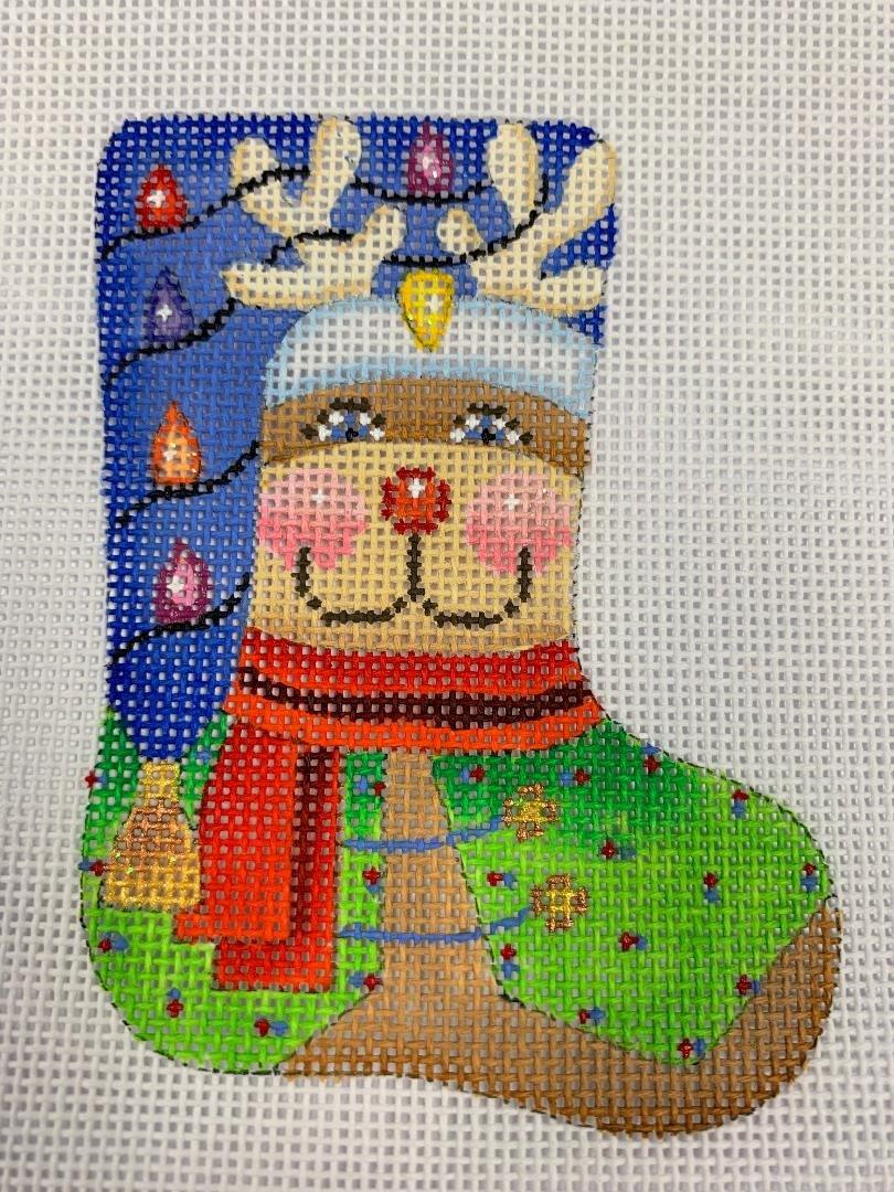 K&B Mini Stocking Reindeer 18ct Mesh