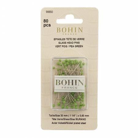 Bohin 1 1/4 Glass Head Pins Pea Green