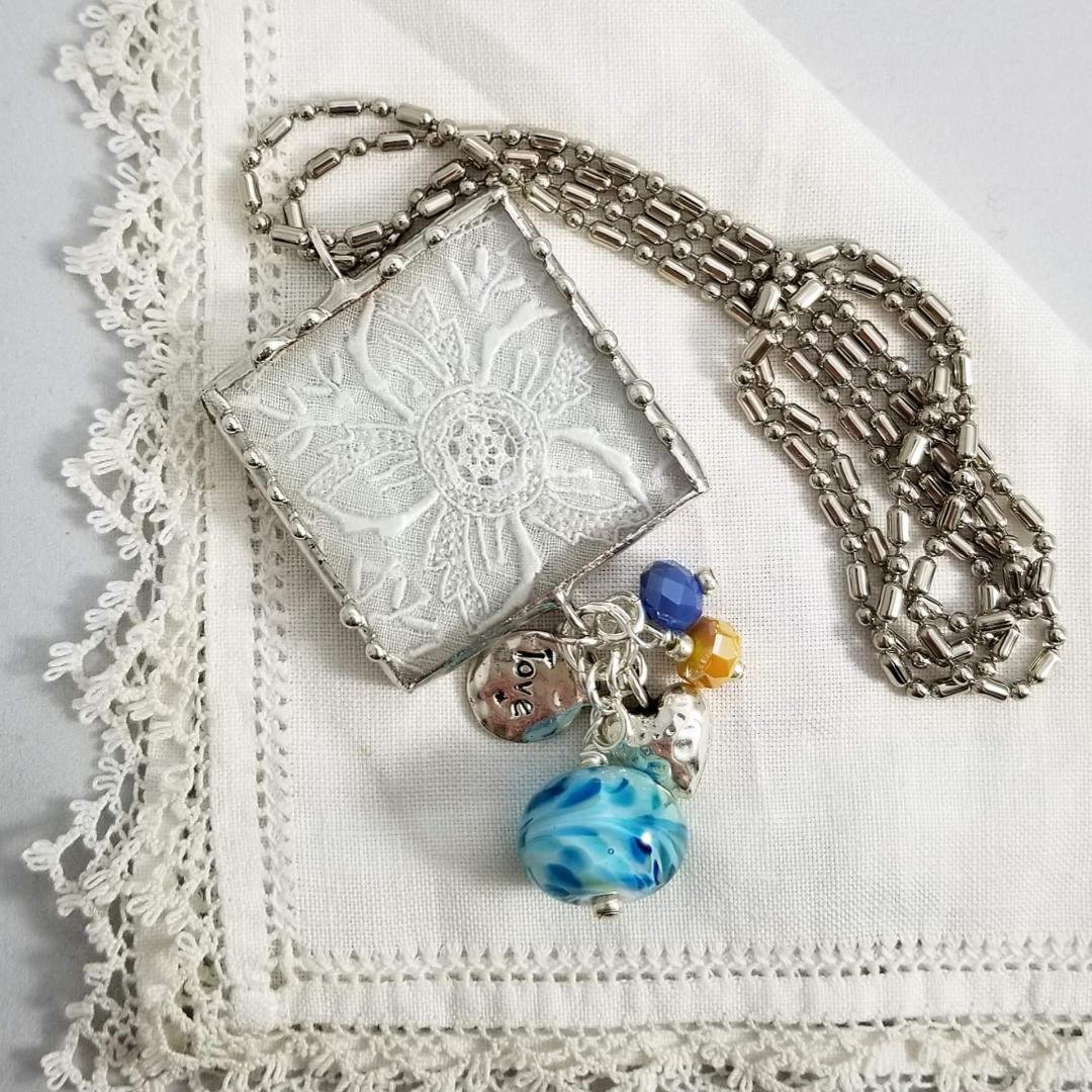 Charm Necklace- Square Love