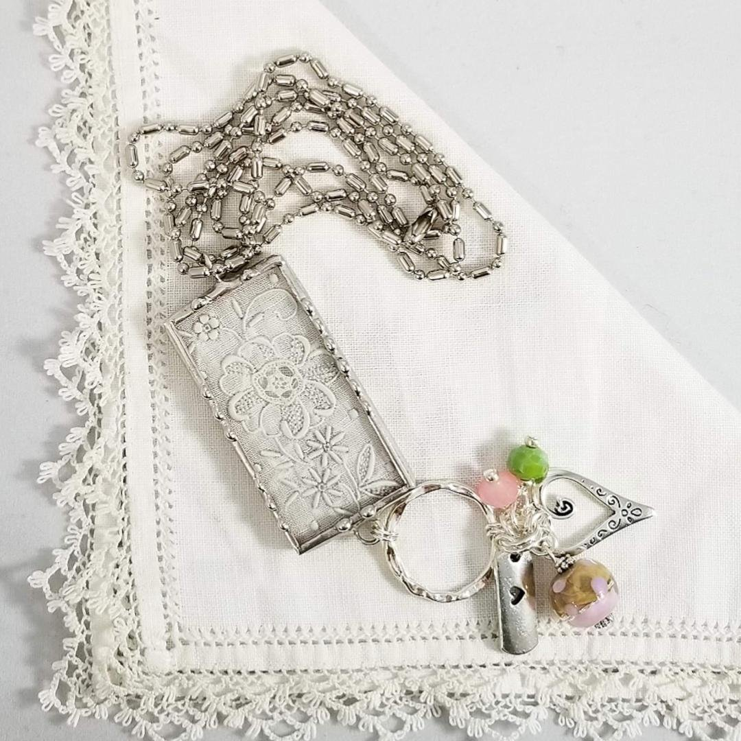 Charm Necklace -  Rectangle Love