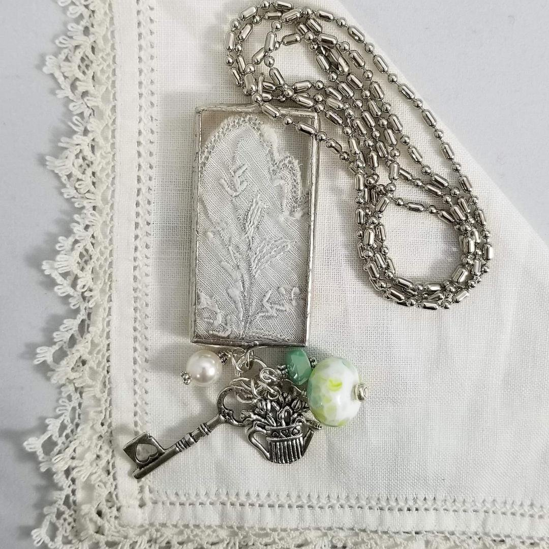 Charm Necklace - Rectangle Flower Pot and Key