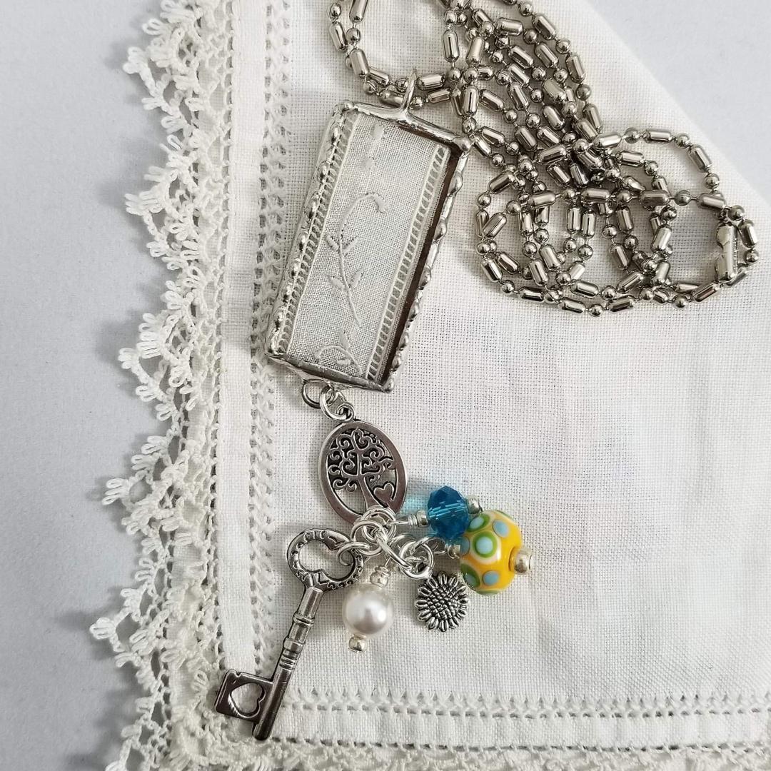 Charm Necklace - Rectangle Key & Tree