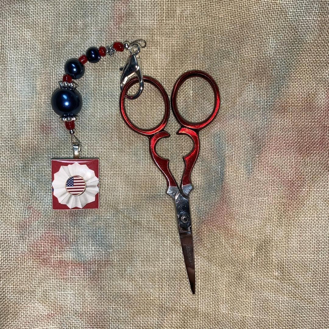 Red Scissors and Patriotic Scissor Fob