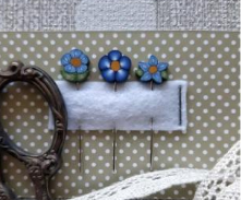 PP Blue Flowers Small Pin Set