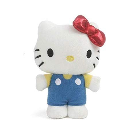 GUND Sanrio Character Hello Kitty Red Bow and Blue Overalls Classic 6 Inches