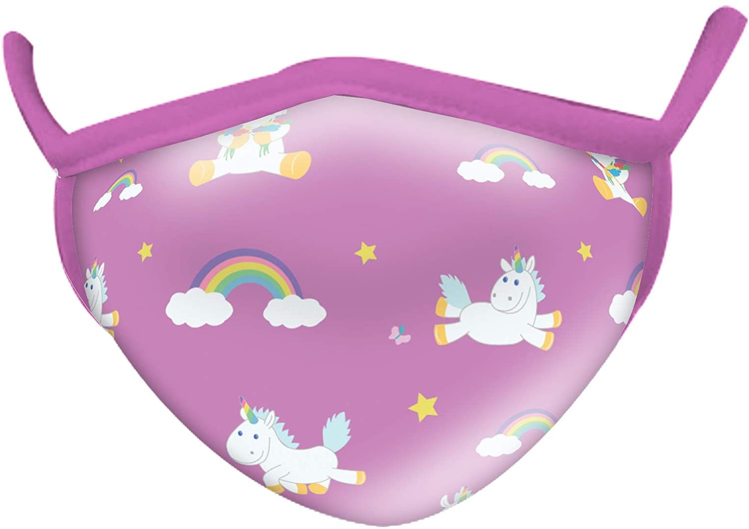 Wild Smiles 2 Ply Cotton Face Mask Unicorn Rainbow