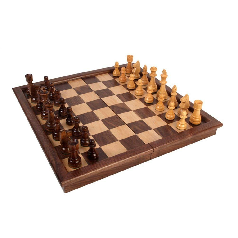 Classic Games Tournament Walnut Folding Chessboard