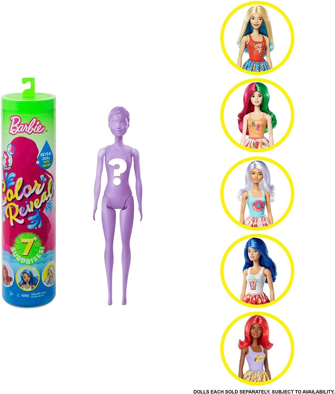 Barbie  შექმენი შენი ბარბი 7 სიურპრიზით, საკვების პრინტიანი კაბით და სურნელოვანი პარიკით