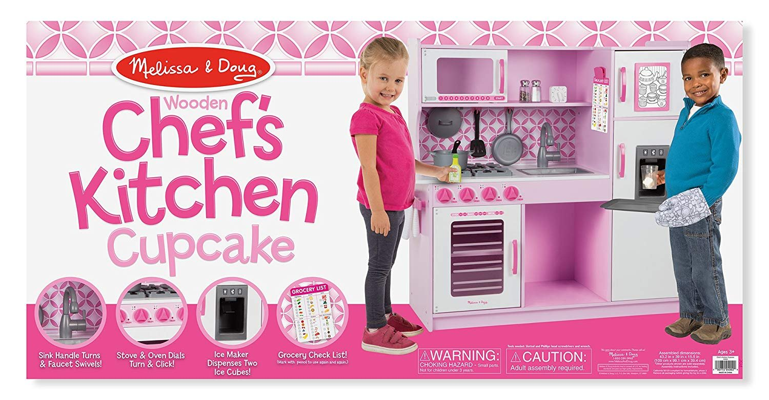 Melissa & Doug Wooden Chef's Pretend Play Toy Kitchen With Ice Cube Dispenser - Cupcake Pink/White
