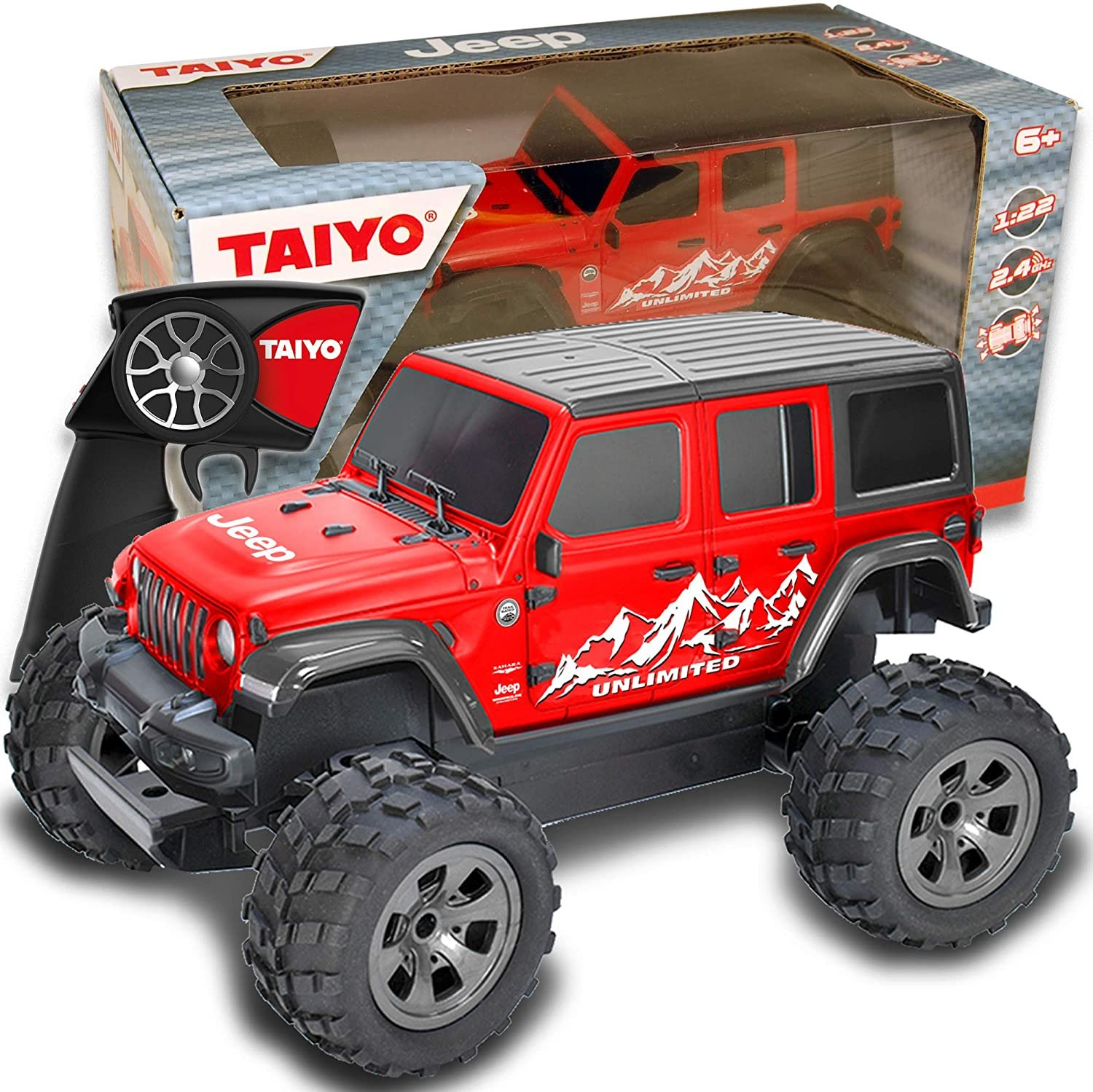 Taiyo Remote Control Red Jeep Wrangler 1:22 Scale