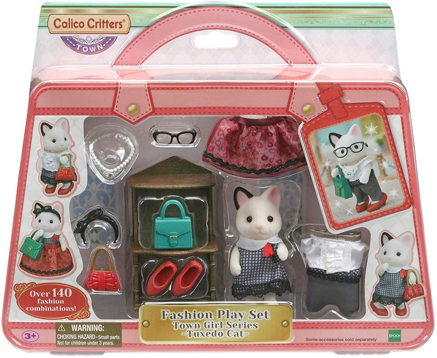 Calico Critters Fashion Playset Tuxedo Cat, Dollhouse Playset with Figure and Fashion Accessories