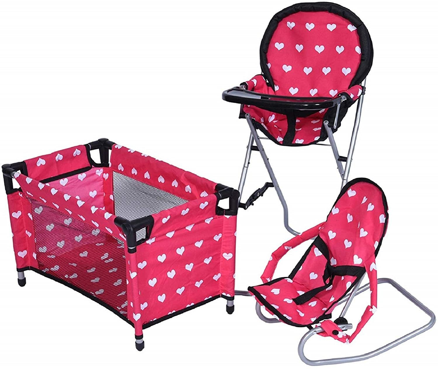 New York Doll 3 in Doll Accessory Set  -- Hi Chair, Baby Bouncer, and Playpen