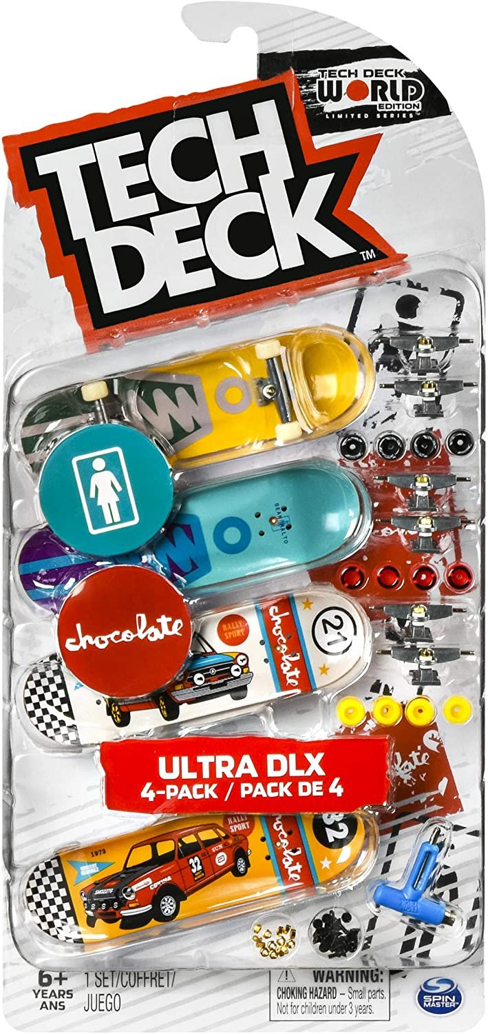 Tech-Deck Ultra DLX 4 Pack 96mm Fingerboard 2020 Crossover - Girl/Chocolate
