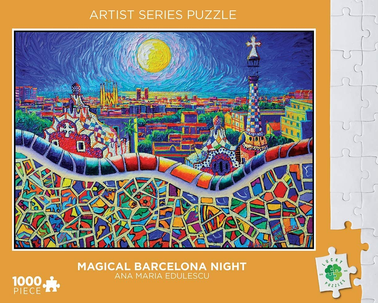 Lucky Puzzles 1000 Piece Magical Barcelona Night Puzzle