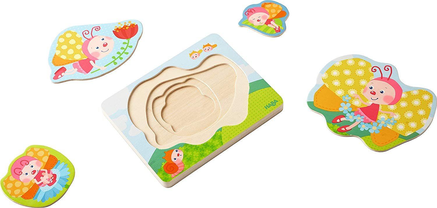 HABA Butterfly Magic 4 Piece  Layered Wooden Puzzle