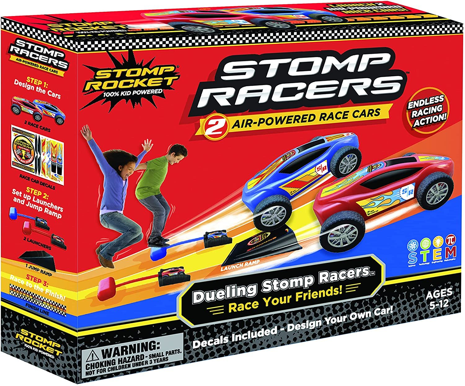 New Stomp Rocket Dueling Stomp Racers, 2 Toy Car Launchers and 2 Air Powered Cars with Ramp and Finish Line