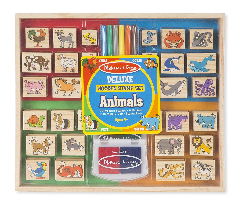 Melissa & Doug Deluxe Wooden Stamp Set- Animals