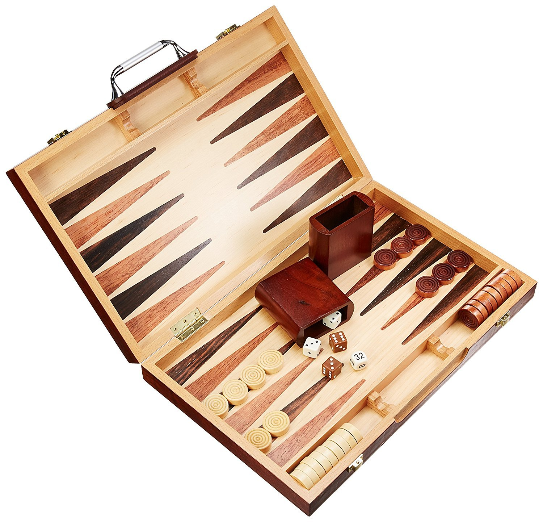 Classic Games 15  Burlwood Attache Backgammon Set