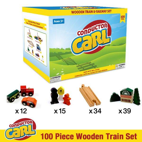 Carl Conductor 100pc Wooden Train & Railway