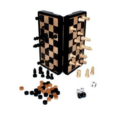 Classic Games 8 Magnetic Dark Wood 3 in 1