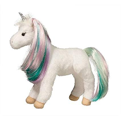 Douglas Co. Jules White Unicorn Plush Toy with light and sounds