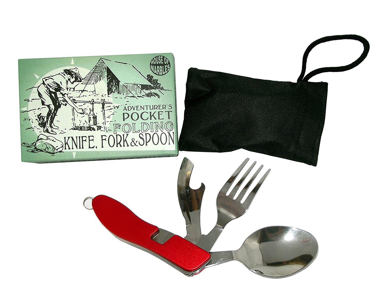 Adventurer's Pocket Folding Knife, Fork & Spoon