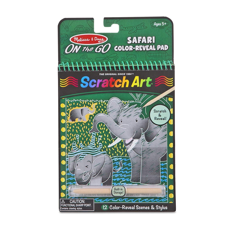Melissa & Doug On-the-Go Safari Color-Reveal Scratch Art Pad