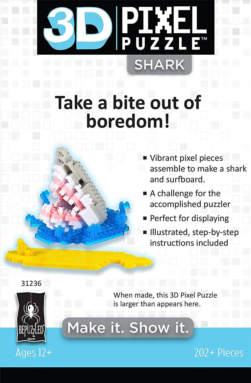 3D Pixel Puzzle Shark