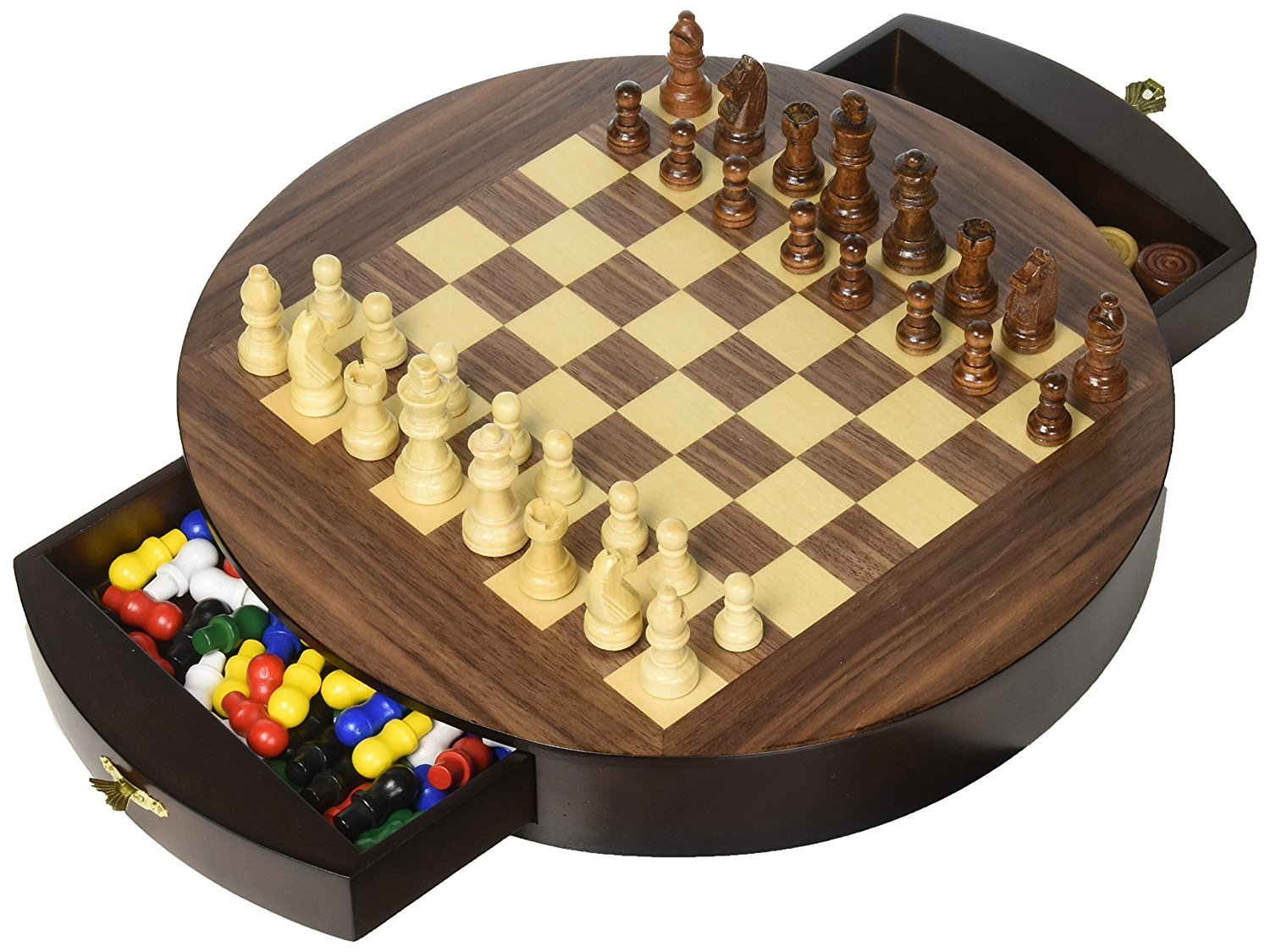 Classic Collection Walnut Round 3 in 1 Chess Checkers & Chinese Checkers