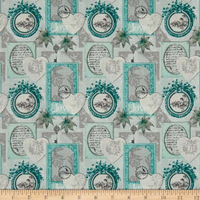 Stof France Le Quilt Belle Epoque Hearts and Frames Grey Fabric for Studio e 0001 005