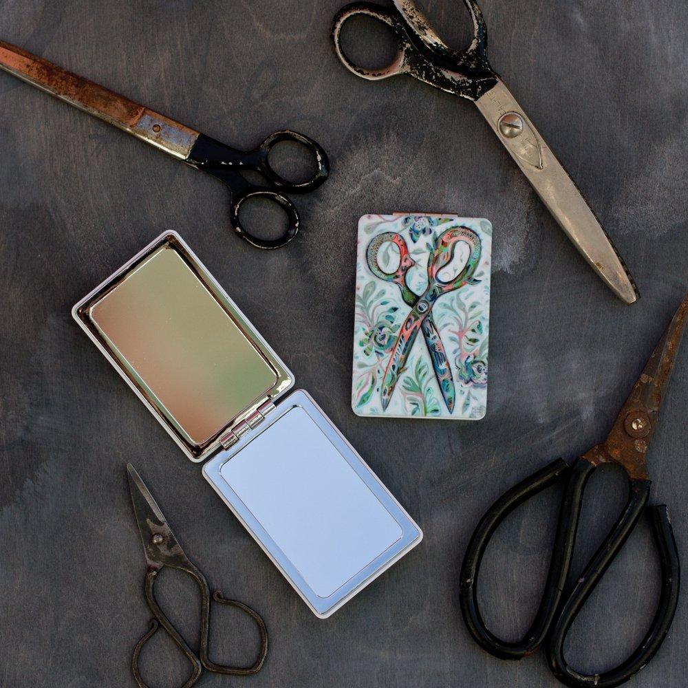 Allen Designs Scissors Compact Mirror