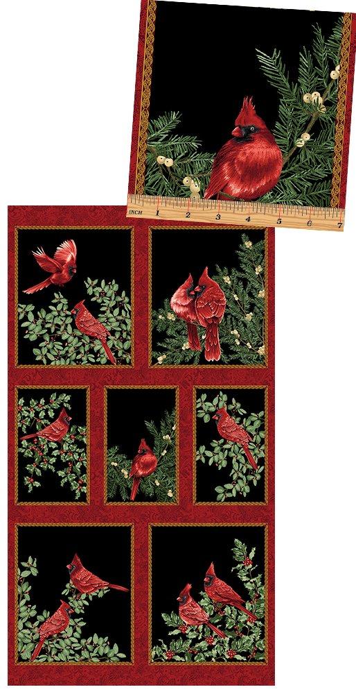 Benartex Backyard Cardinals 24 Inch Panel 2640M12 Black