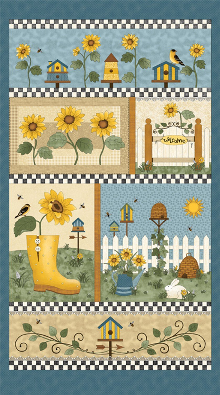 Benartex Sunshine Garden Panel 03490-50 Blue