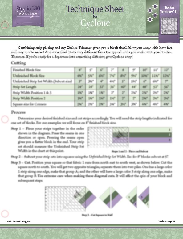 Tucker - Cyclone -Technique Sheet DTEC18