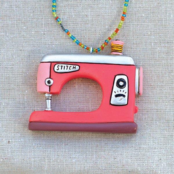 Allen Designs Double Stitch Pink Sewing Machine Ornament