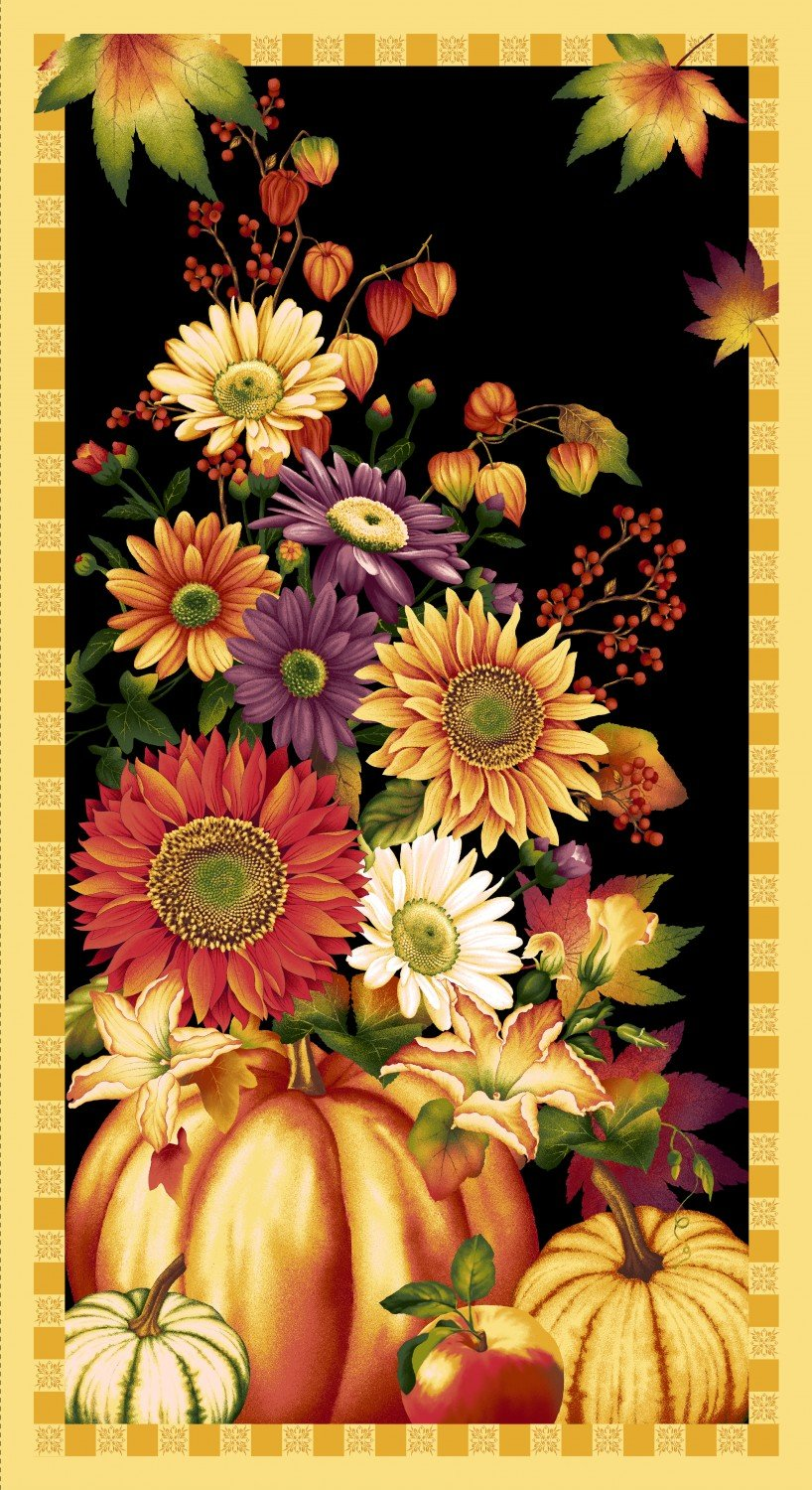 Henry Glass & Co Autumn Time Black Floral Panel 2319P-99