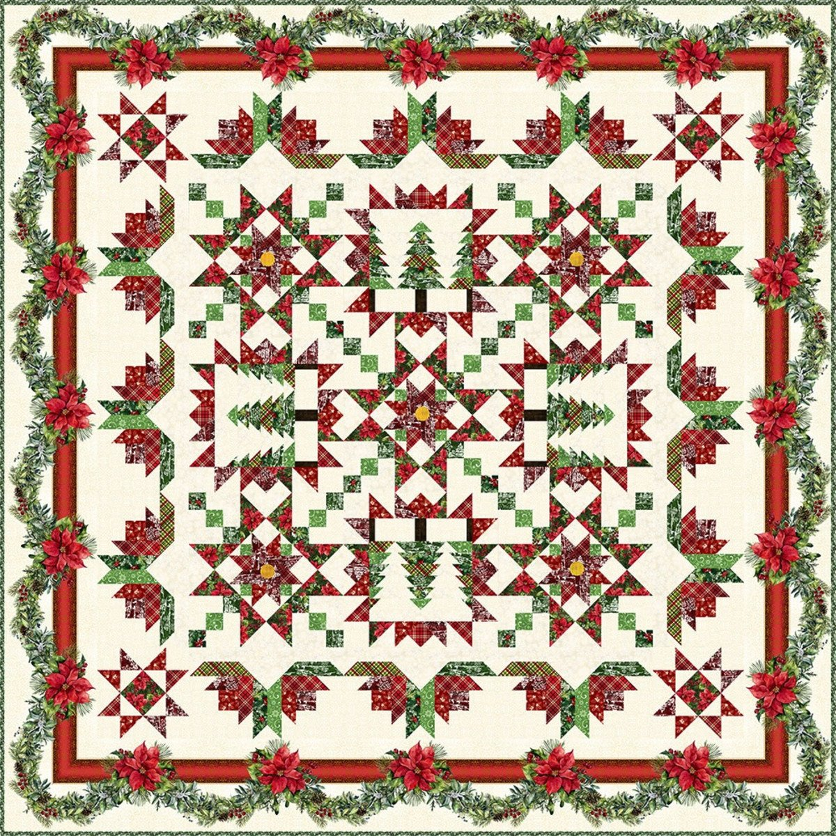 E E Schenck - A Poinsettia Winter Quilt PATTERN BOOK  - ITBAPWBK
